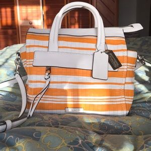 Coach Handbag: Orange and White Stripe